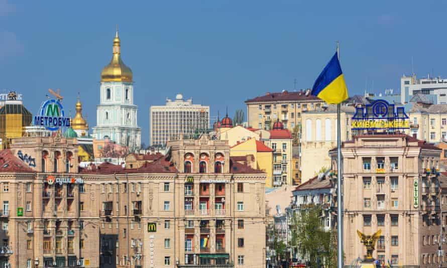 View of Independence square and old buildings in Kiev, Ukraine
