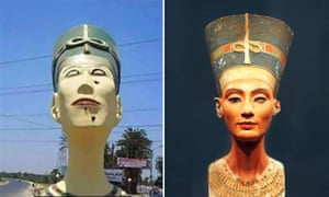 The recent grotesque bust of Nefertiti, left, and the great ancient version in Berlin's Neues Museum