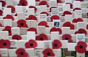 Crosses in the Field of Remembrance in front of Westminster Abbey in London