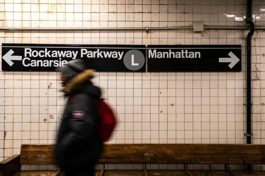 A commuter on the L train, that runs between Manhattan and Brooklyn. The MTA, which runs the subway, has proposed a $51.5bn cash injection over five years.