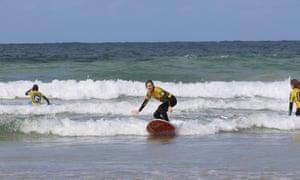 Surfing at Polzeath