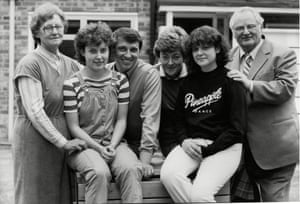 Taylor pictured at home with his family in 1984. On the left is Taylor's mother Dorothy, daughter Joanne, Graham, his wife Rita (they married in 1965), daughter Karen and father Tom