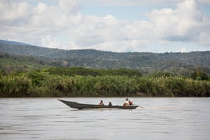 Locals take a boat along the Ene River – there is no road transport in this area.