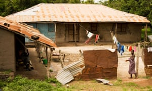 A village compound in the Gambia, west Africa.