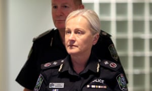 South Australian deputy police commissioner Linda Williams leaves court after police were fined over the death of cook Debra Summers in a freezer