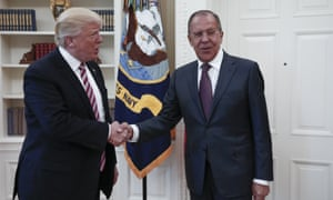 Trump with the Russian foreign minister, Sergei Lavrov, in the Oval Office last week. Trump's tweet contradicted flat denials issued by senior officials on Monday night.