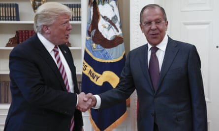 Donald Trump and Russian foreign minister Sergey Lavrov at the White House in May 2017, in which the president discussed highly sensitive information.