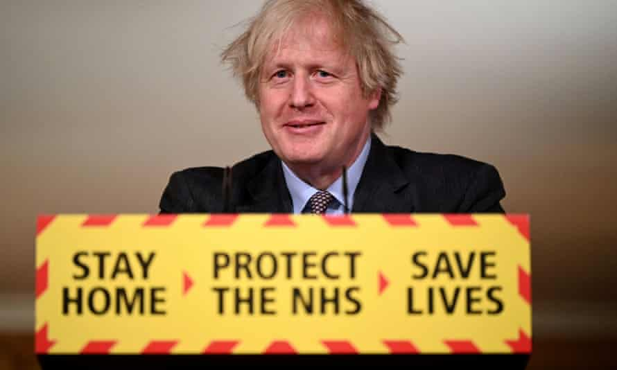Boris Johnson at a press conference to announce plans for easing England's lockdown