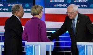 Bernie Sanders greets Mike Bloomberg and Elizabeth Warren at the Democratic debate in Las Vegas on Wednesday.