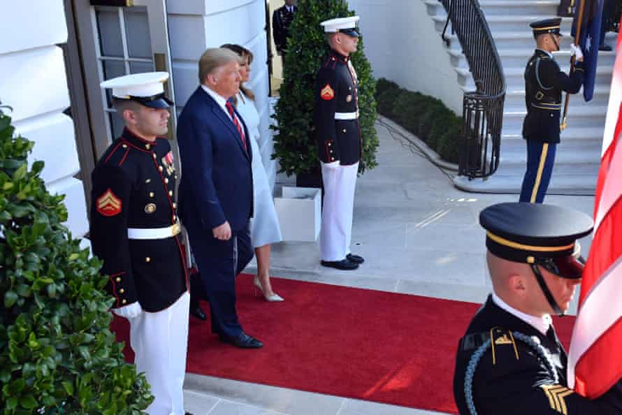 Donald and Melania Trump arrive to greet Scott Morrison.