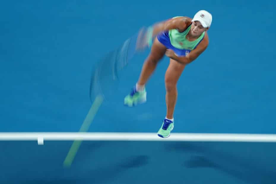 Ashleigh Barty serves during her win over Lesia Tsurenko.