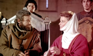 Peter O'Toole and Katharine Hepburn on the set of The Lion in Winter (1968), directed by Anthony Harvey.