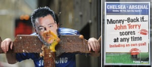Man dressed as John Terry is pelted with eggs and an advert taking the mickey out of John Terry