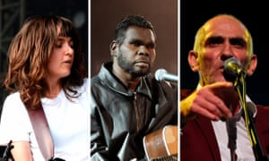 Australia musicians Courtney Barnett, Gurrumul Yunupingu, and Paul Kelly