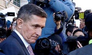 Michael Flynn, a former US national security adviser, leaves the district court in Washington after a sentencing hearing.