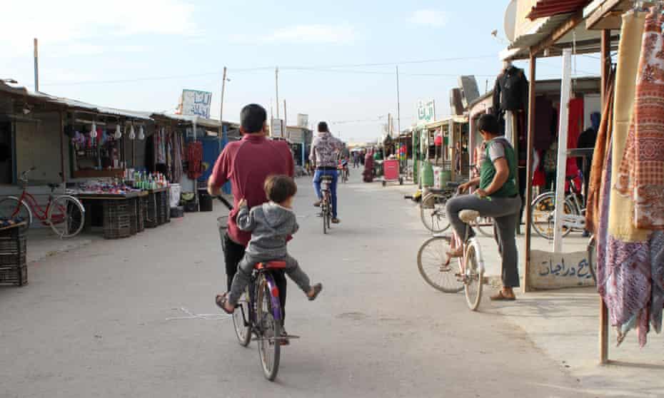Shops along the 'Shamps-Élysées' in the Zaatari refugee camp in Jordan.
