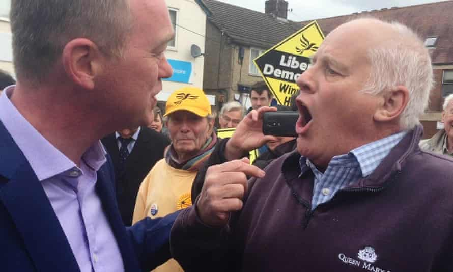 Former Liberal Democrat leader Tim Farron is confronted by an angry Brexit voter in Kidlington, near Oxford.