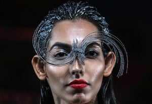Mumbai, IndiaA model presents a creation by Indian designer Amit Aggarwal during the grand finale of the Lakme Fashion Week 2020.