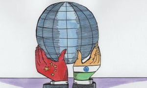 Illustration, of china and india hands holding globe, by Andrzej Krauze