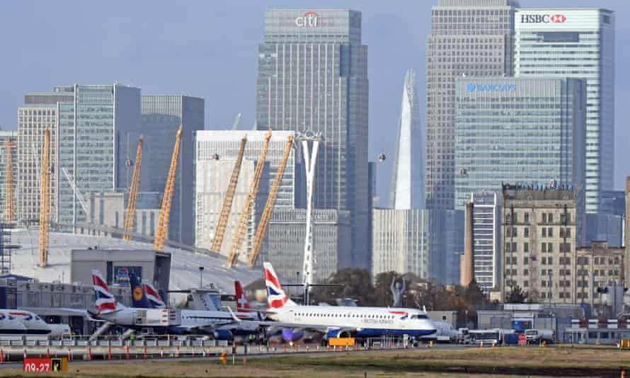 Planes on the runway at London City airport