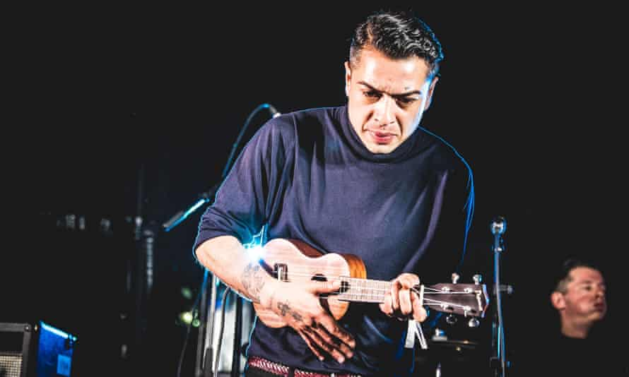 Jonny Fox of the King Blues performing at Slam Dunk festival, Hatfield, 30 May 2016.