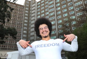 Resident Ali Abdalla poses for a photo outside the Albert Street public housing tower in North Melbourne,.
