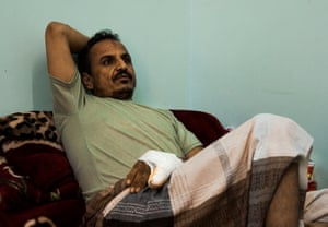 Ali Ahmed al-Abasi on his bed in the Dhamar General Hospital.