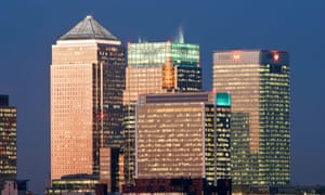 Bank buildings in the Financial centre of Canary Wharf .