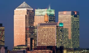 Bank buildings in the Financial centre of Canary Wharf, London.
