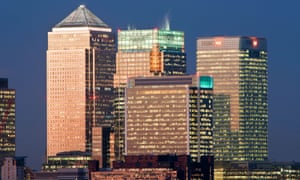 Bank buildings in Canary Wharf, London