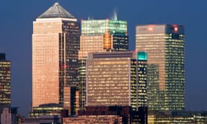 Bank buildings in the Financial centre of Canary Wharf.