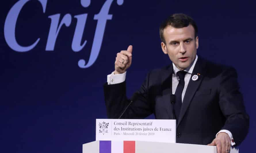 French President Emmanuel Macron speaks to Jewish community leaders in Paris on Wednesday 20 February.