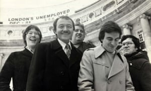 John McDonnell with Valerie Wise, Ken Livingstone Charlie Ross And Michael Ward outside County Hall in 1981.