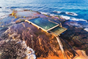 A remote rock pool off Mona Vale beach on the Pacific ocean coast, Sydney
