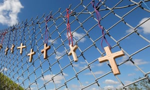 Crosses on a school fence
