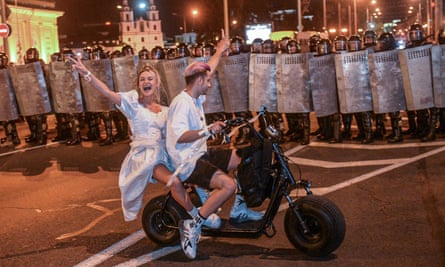 Protesters on bike in Minsk