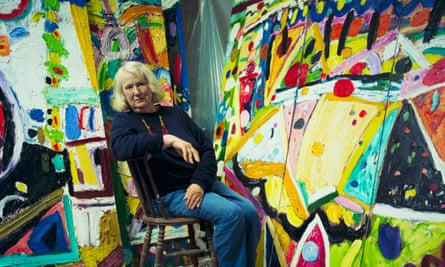 Gillian Ayres in her studio in Cornwall in 2001.