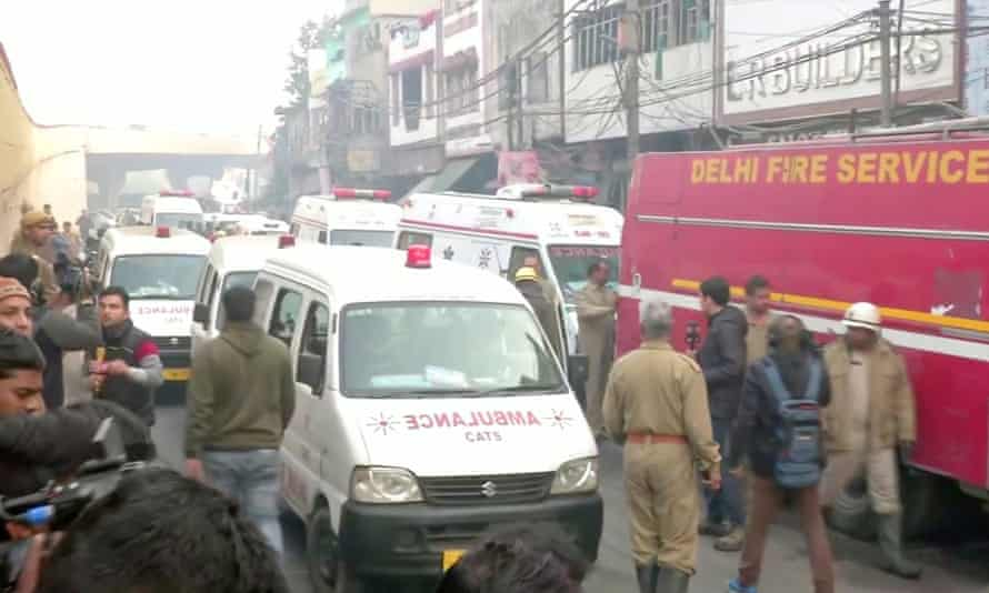 Ambulances in Delhi after a deadly fire