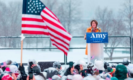Amy Klobuchar announces her candidacy for president in a heavy snowfall in Minneapolis, Minnesota.