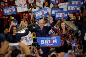 Detroit, Michigan. The Democratic presidential candidate and former vice president Joe Biden stands with the US senator Kamala Harris and the Michigan governor, Gretchen Whitmer, during a campaign stop