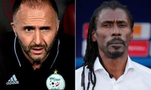 Algeria's coach, Djamel Belmadi, (left) and Senegal's coach, Aliou Cissé met in the group stage, with Algeria winning 1-0.