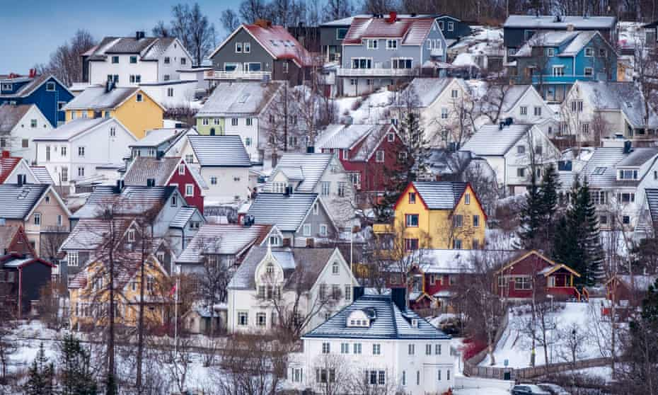 Traditional houses in Narvik, Nordland, Norway.
