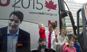 Justin Trudeau with his wife Sophie Grégoire, and children Hadrien (left), Xavier (right) and Ella-Grace (front).
