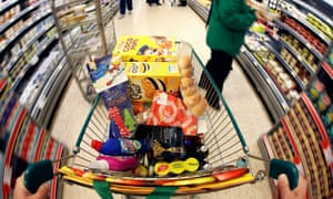 A supermarket trolley full of food