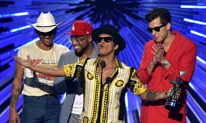 Bruno Mars (centre) and Mark Ronson (right) accept yet another award for Uptown Funk.