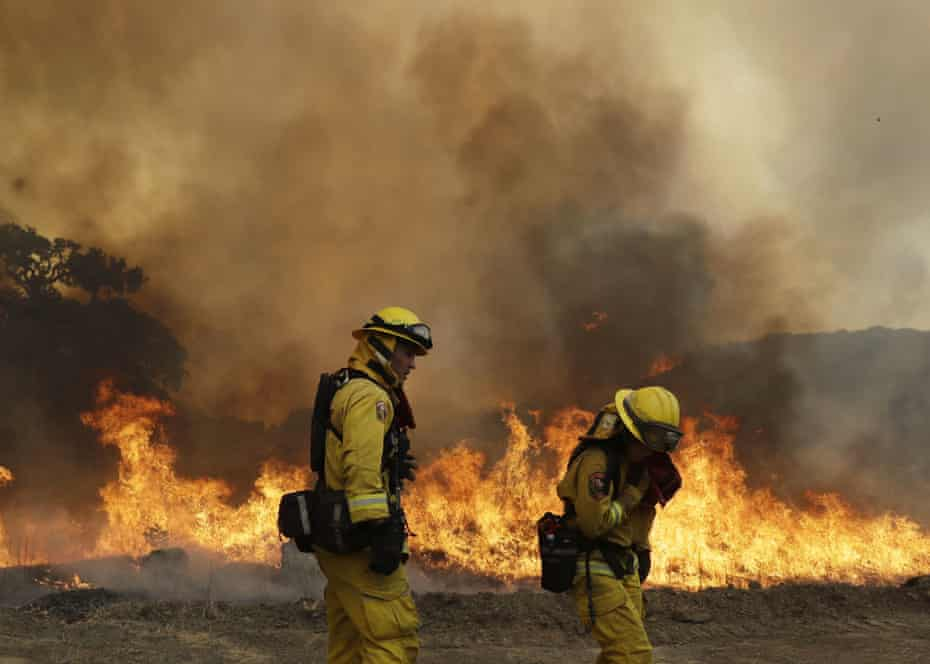 Firefighters in Lakeport, California.