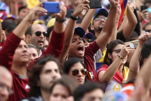 People attend a protest against Venezuelan President Maduro in Buenos Aires, Argentina