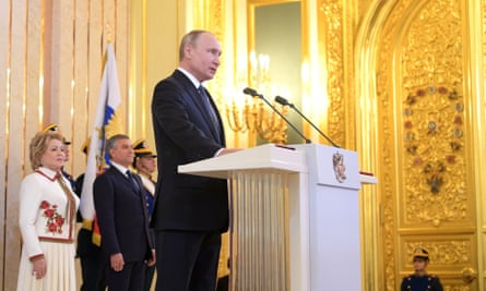 Vladimir Putin delivers a speech during his inauguration ceremony at the Kremlin