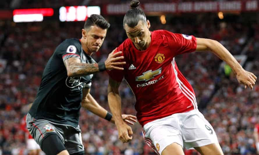 Southampton's José Fonte challenges Zlatan Ibrahimovic.