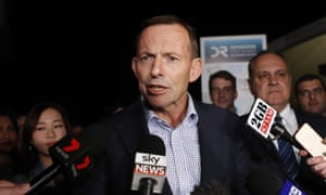 Tony Abbott talks to the media before leaving the NSW Liberal convention at Rosehill Gardens Racecourse in Sydney 23 July 2017.